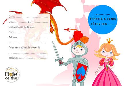 carton-invitation-Chevalier-Princesse-Etoile-de-Reve